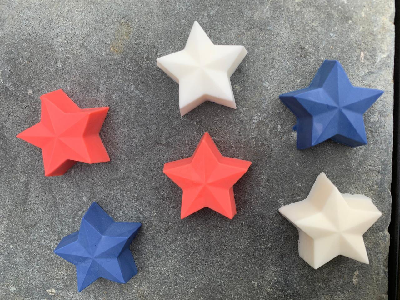 Handmade Natural Kids Soap, Captain America Star Shaped Shower Melts, boy soap-fourth of July-shaped soap-shower melts-red white & blue-superhero-avengers