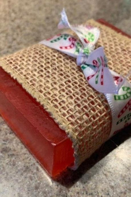 Handmade Natural Soap, Organic Red Peppermint Christmas Soap, vegan soap, soap bar-sensitive skin care-beauty products-spa items-gel soap-wedding favors-gifts